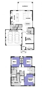 "Floor plans for ""My Sicily"" home design (double storey home)"