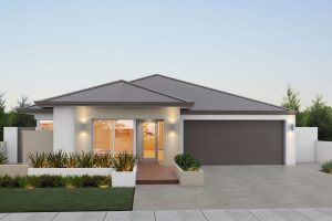 "Home frontage of single storey home ""My Vienna"", designed and built in Perth by My Homes WA"