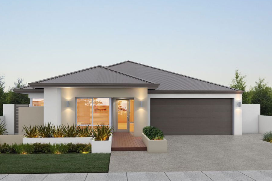 """Home frontage of single storey home """"My Vienna"""", designed and built in Perth by My Homes WA"""