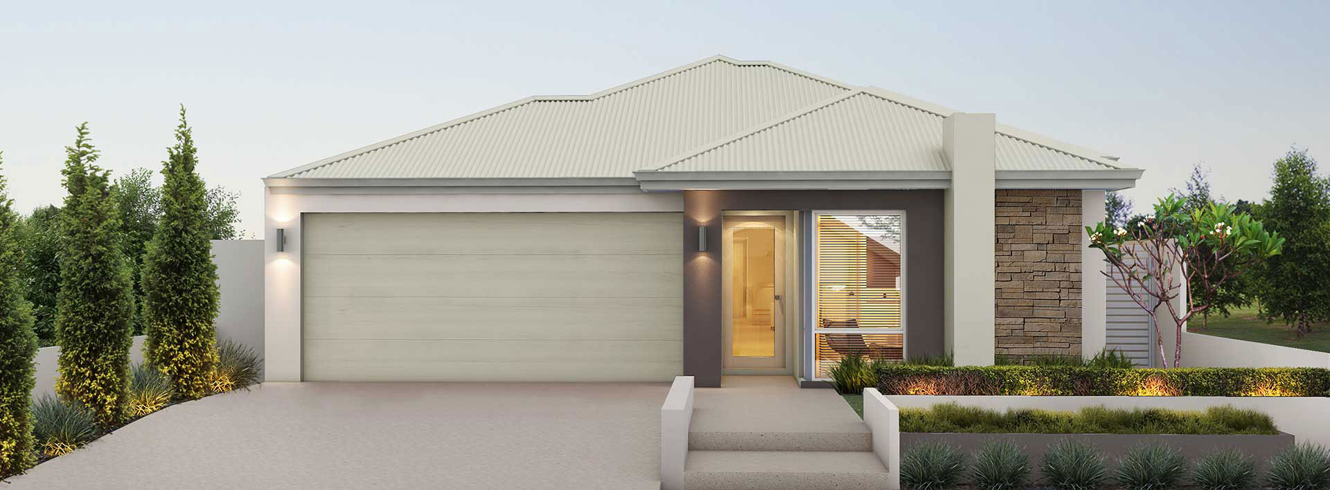 "House frontage of single storey home design ""My Bondi"""