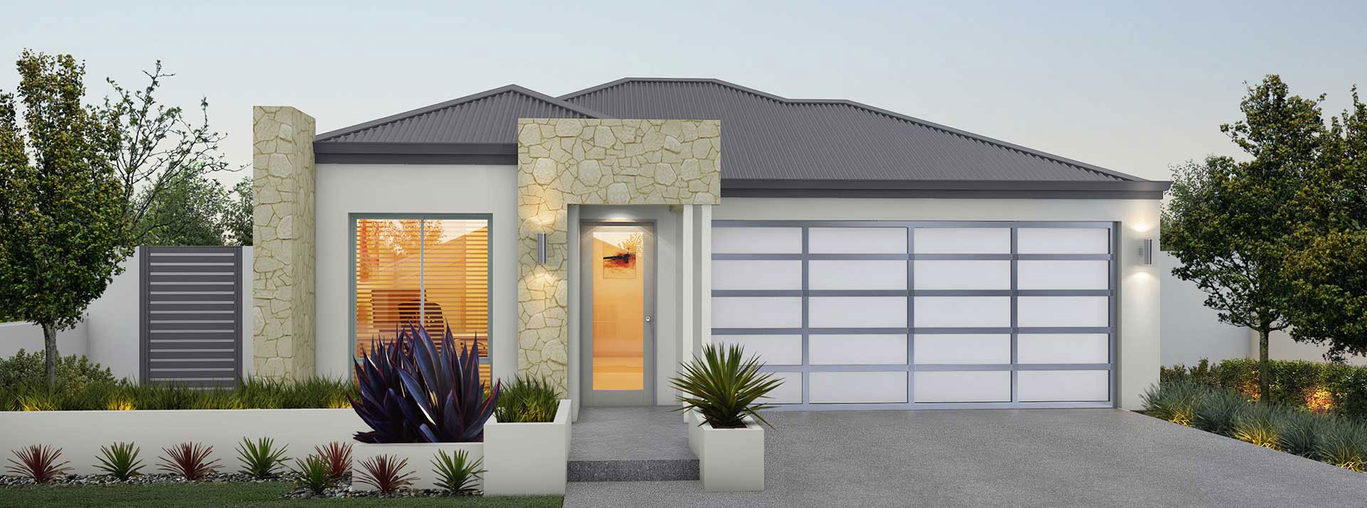 "House frontage of single storey home design ""My Boston"""