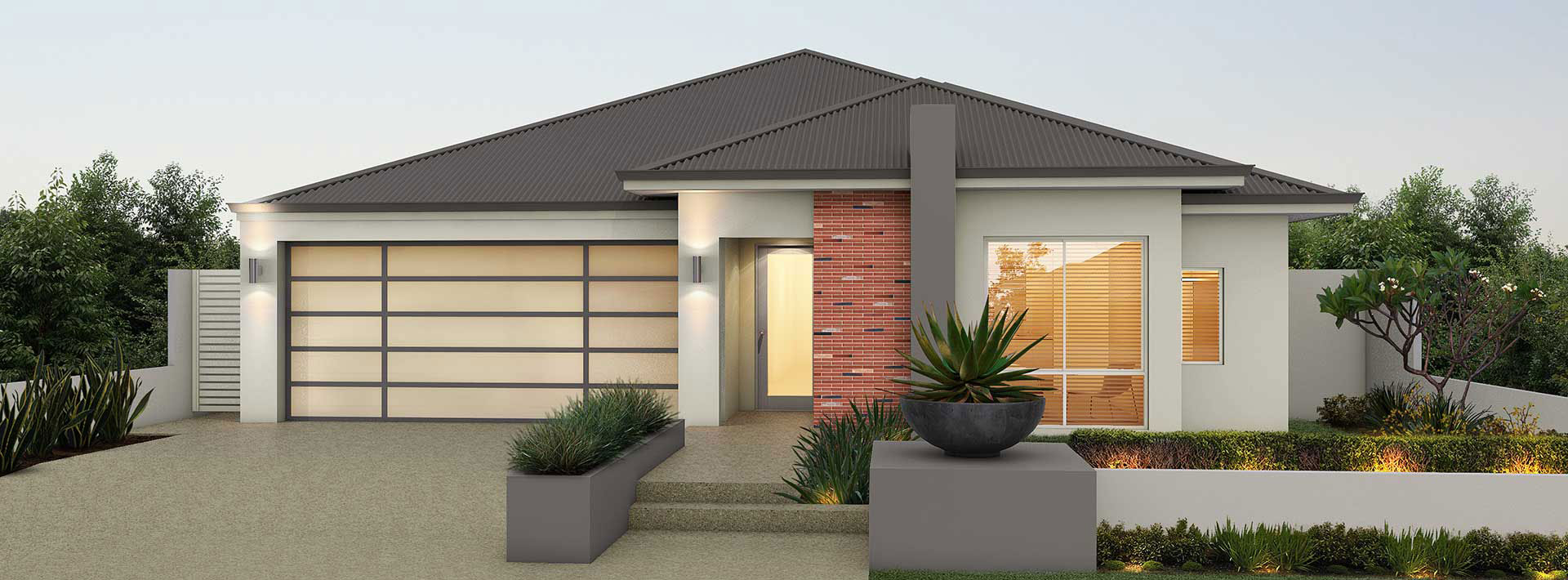 "House frontage of single storey home design ""My Byron"""