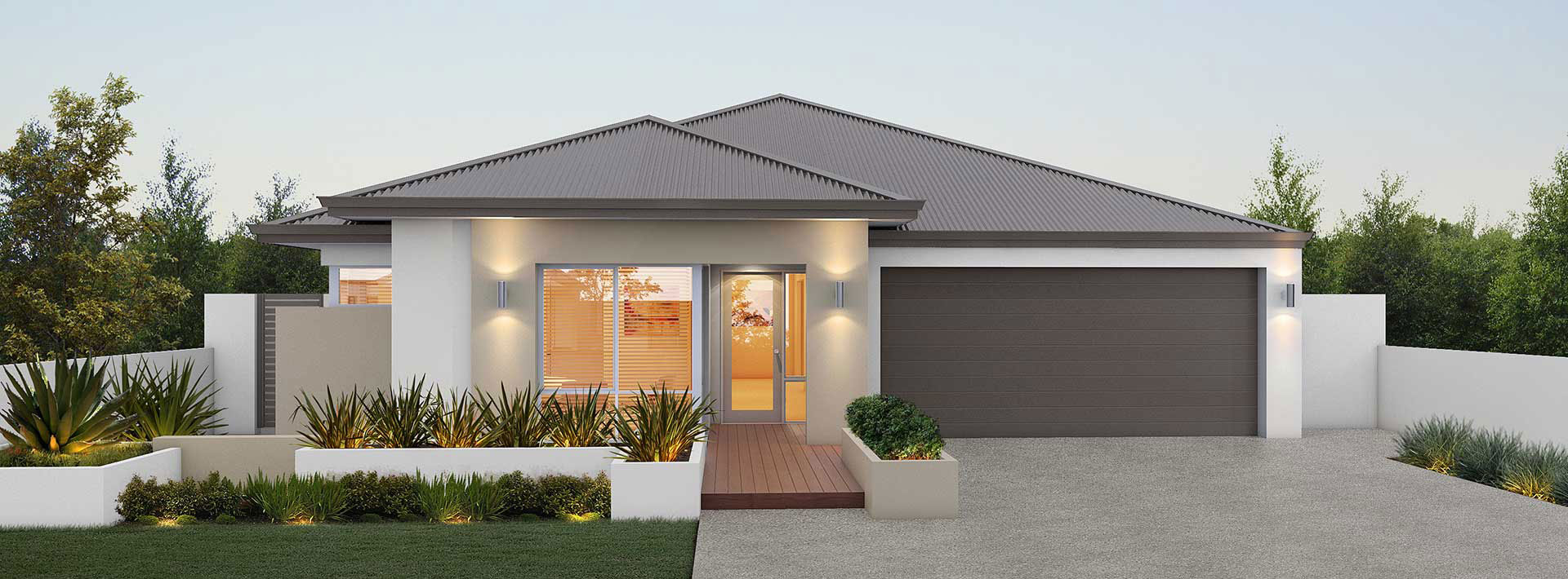 "House frontage of single storey home design ""My California"""