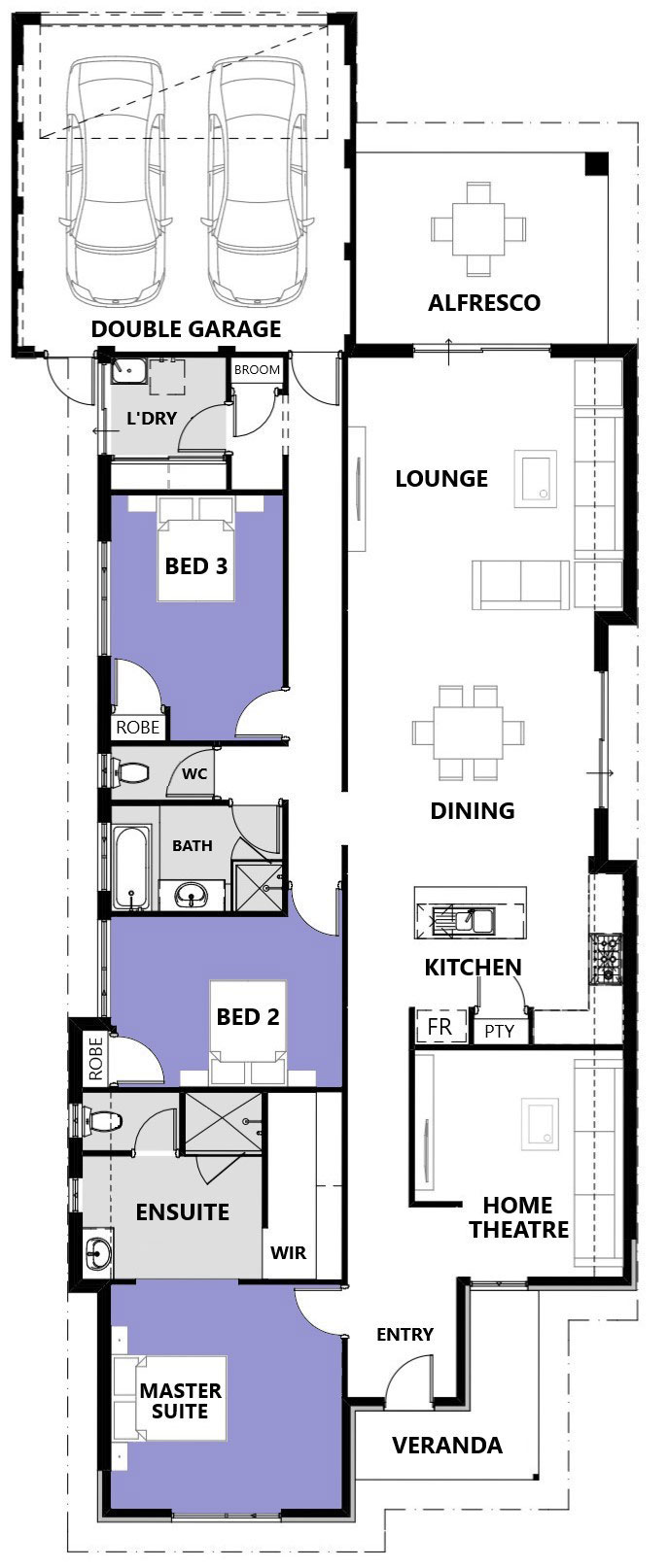"Floor plan of single storey home design ""My Chantilly"""