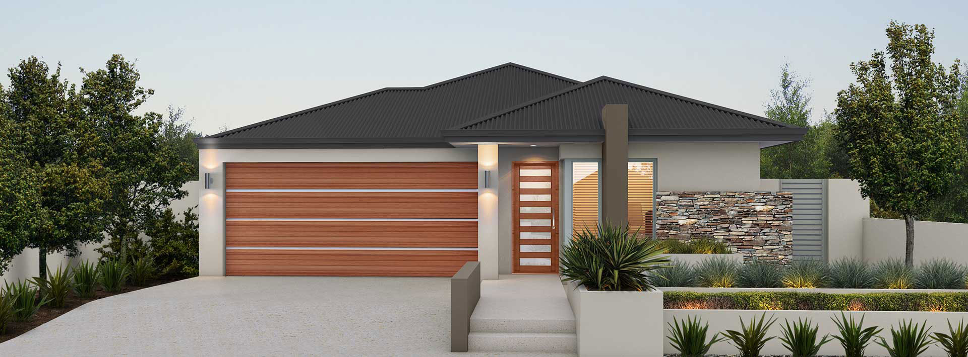 """House frontage of single storey home design """"My Milan"""""""