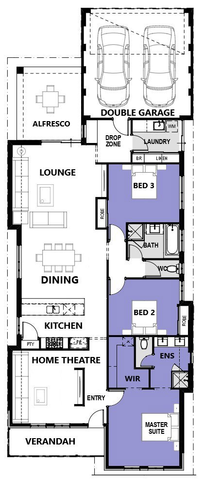 "Floor plan of single storey home design ""My Monte Carlo"""