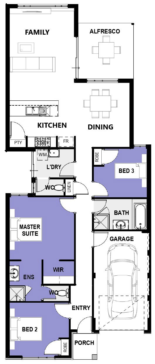 "Floor plan of single storey home design ""My Newport"""
