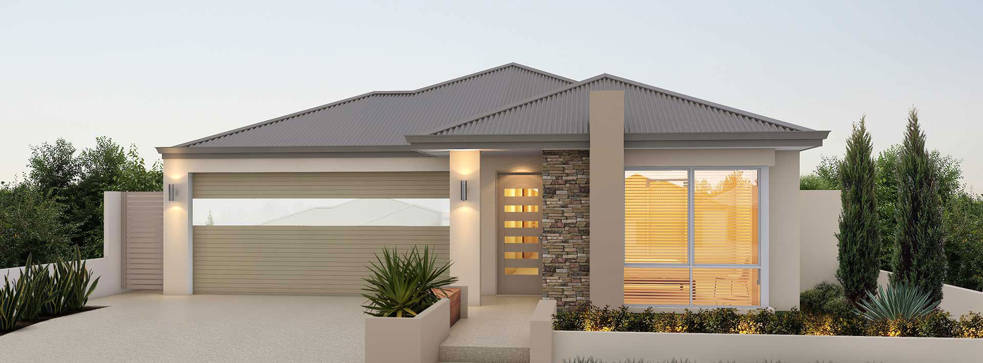 "House frontage of single storey home design ""My Noosa"""
