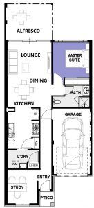 """House frontage of single storey home design """"My Oakland"""""""