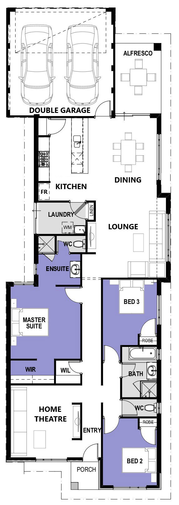 "Floor plan of single storey home ""My Vienna"", designed and built in Perth by My Homes WA"