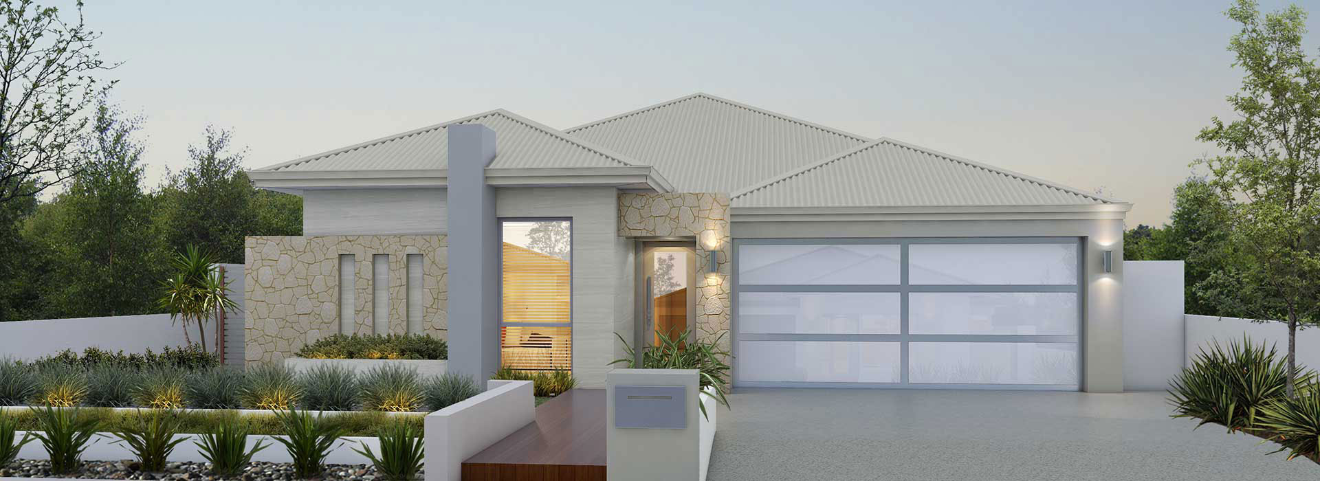 """Home frontage of single storey home """"My Sorrento"""", designed and built in Perth by My Homes WA"""
