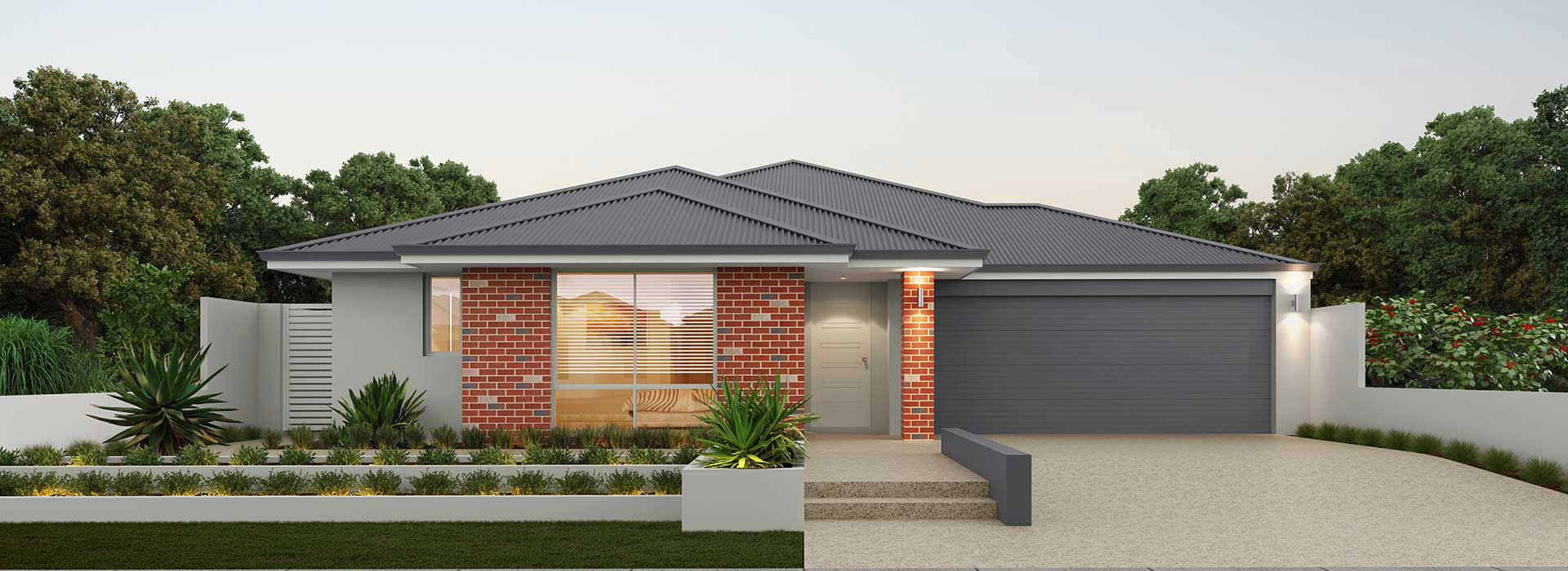 "Home frontage of single storey ""My Valencia"" house designed and built in Perth by My Homes WA"