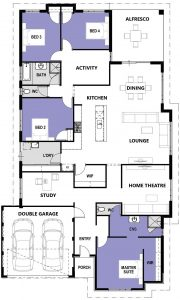 """Floor plan of single storey """"My Vancouver"""" home designed and built in Perth by My Homes WA"""