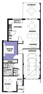 """Floor plan of single storey """"My Verona"""" home designed and built in Perth by My Homes WA"""