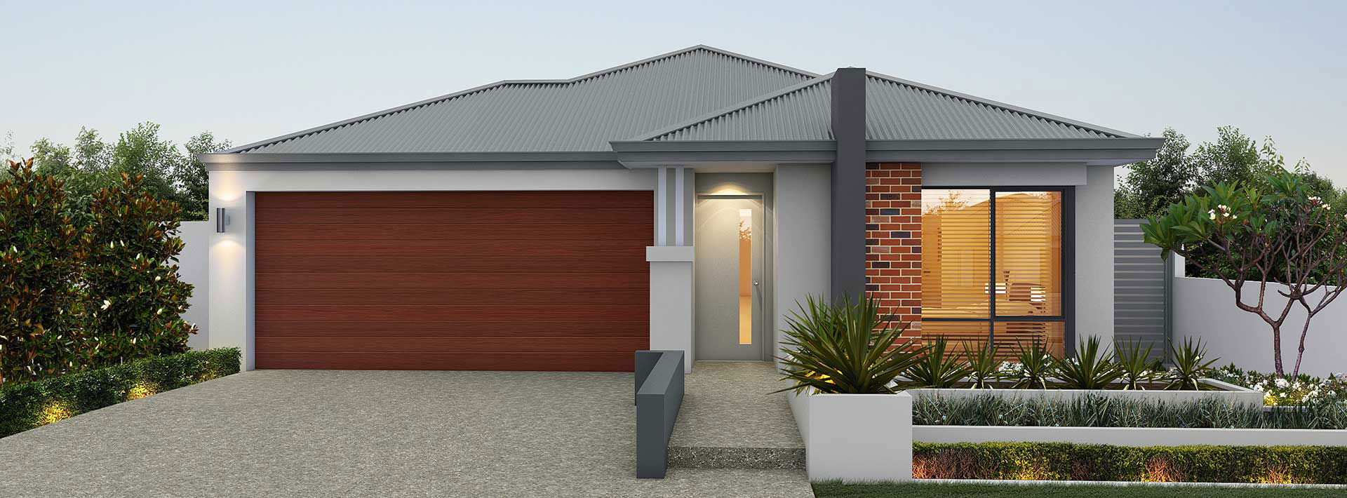 "Home frontage of single storey ""My Vienna"" house designed and built in Perth by My Homes WA"